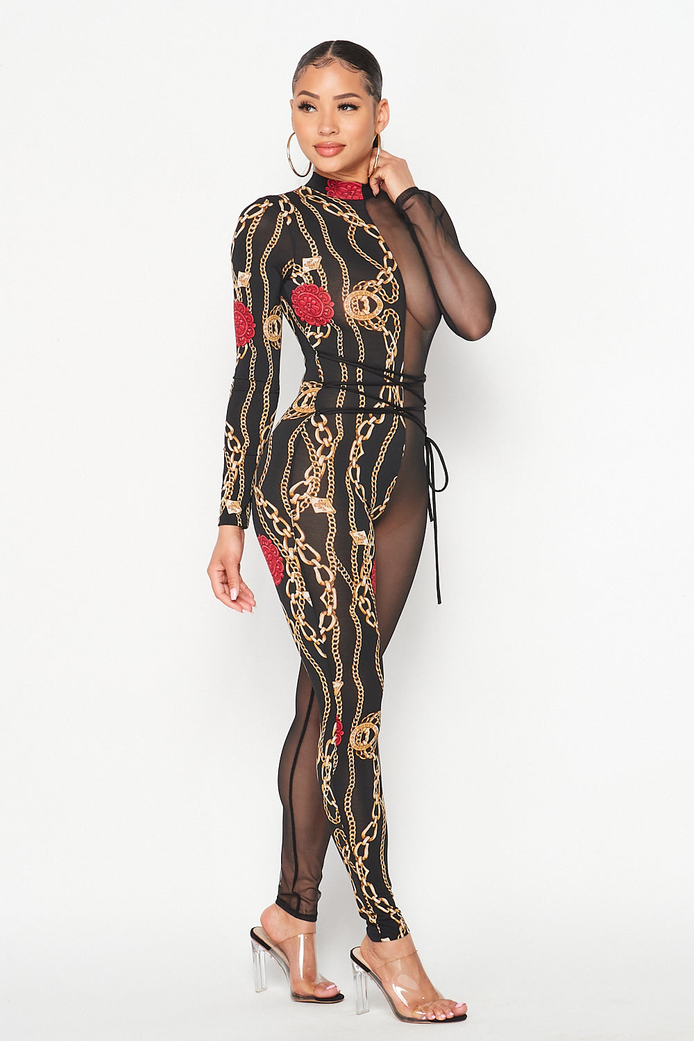 Half Mesh Half Print Mock Neck Chained Down Jumpsuit - Fashion House USA