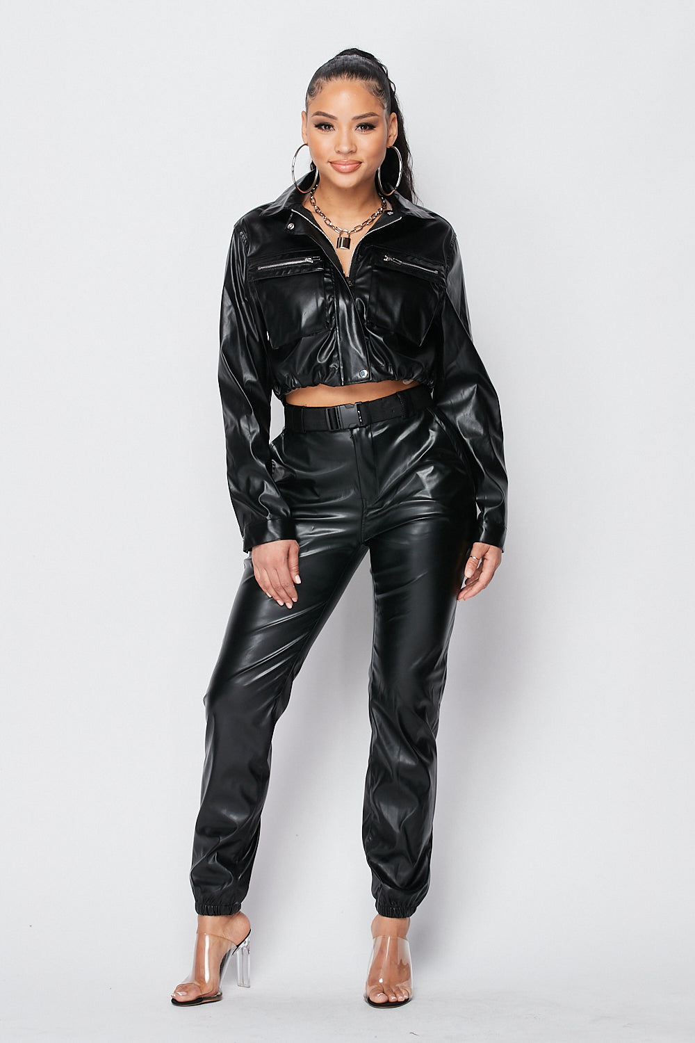 Solid PU Cropped Zipper Jacket with Front Pocket Details in Black - Fashion House USA