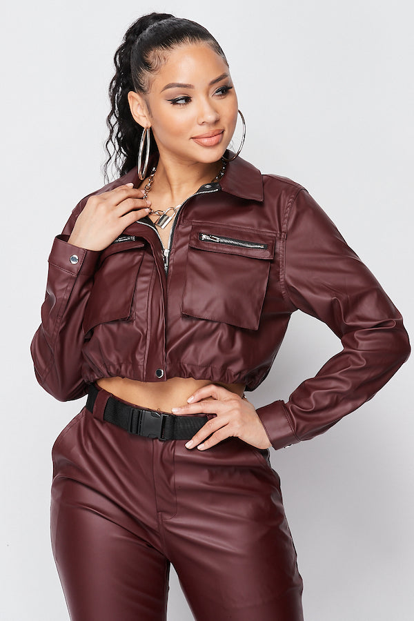Solid PU Cropped Zipper Jacket with Front Pocket Details in Burgundy - Fashion House USA