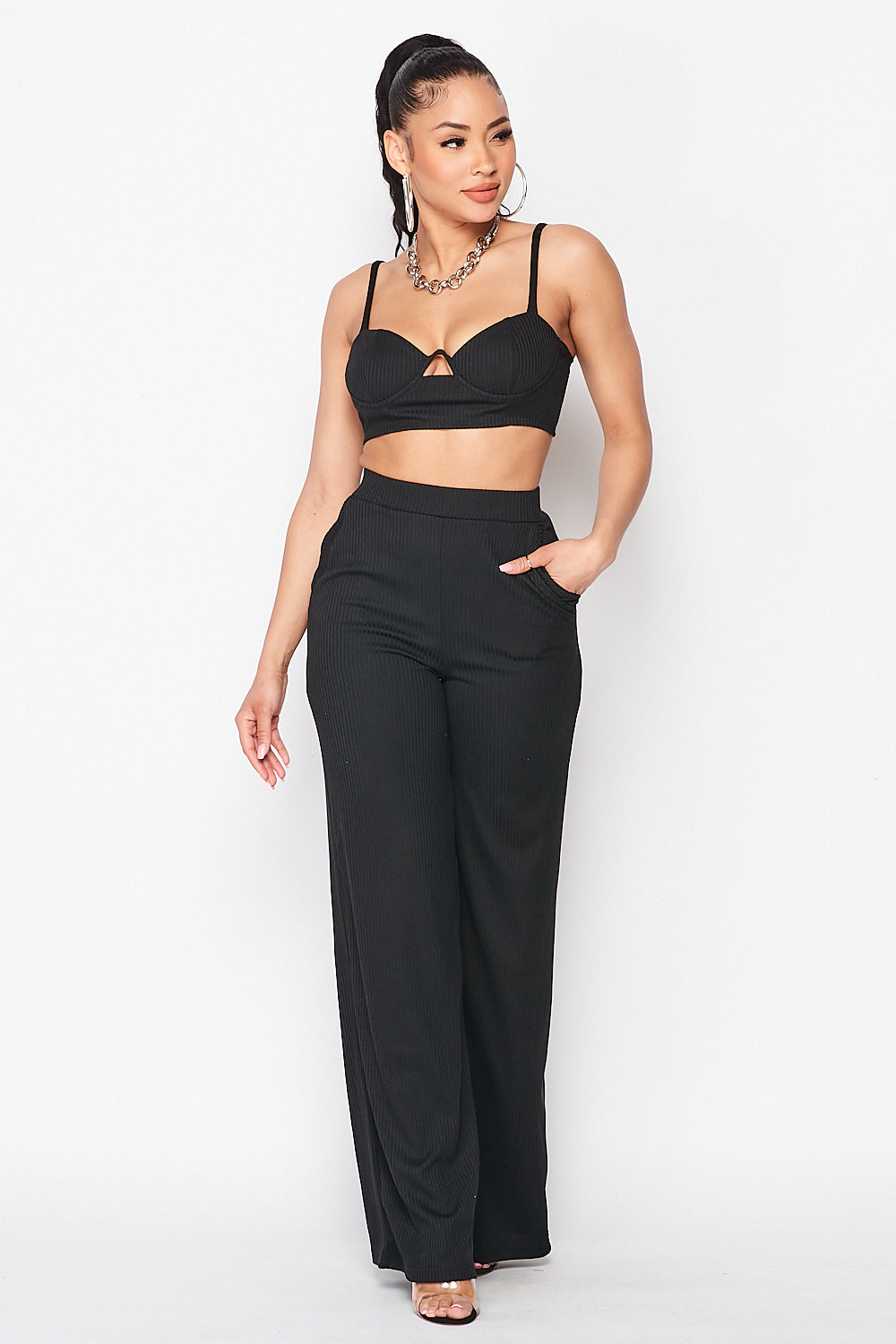 Ribbed Cami Top and Wide Leg Pants Set in Black - Fashion House USA