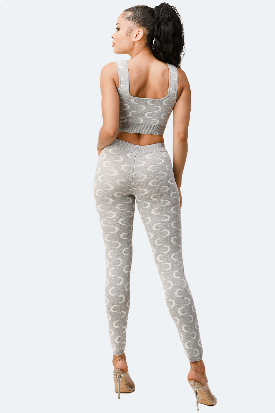 To the Moon Knit Crop Top Leggings Set in Grey - Fashion House USA