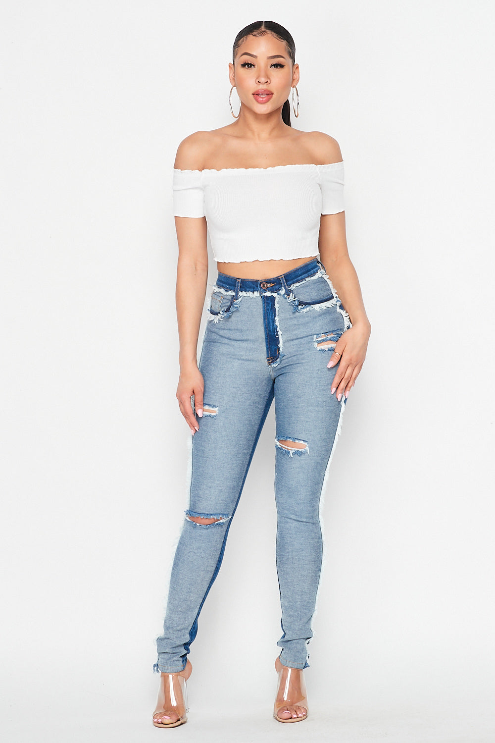 High Waist Reversed Denim Trim Detail Jeans