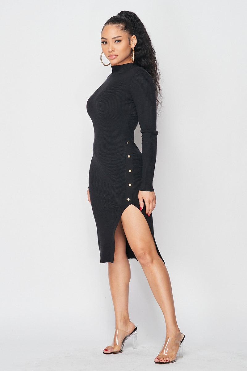 Ribbed Knit Mock Neck Side Split Dress in Black - Fashion House USA