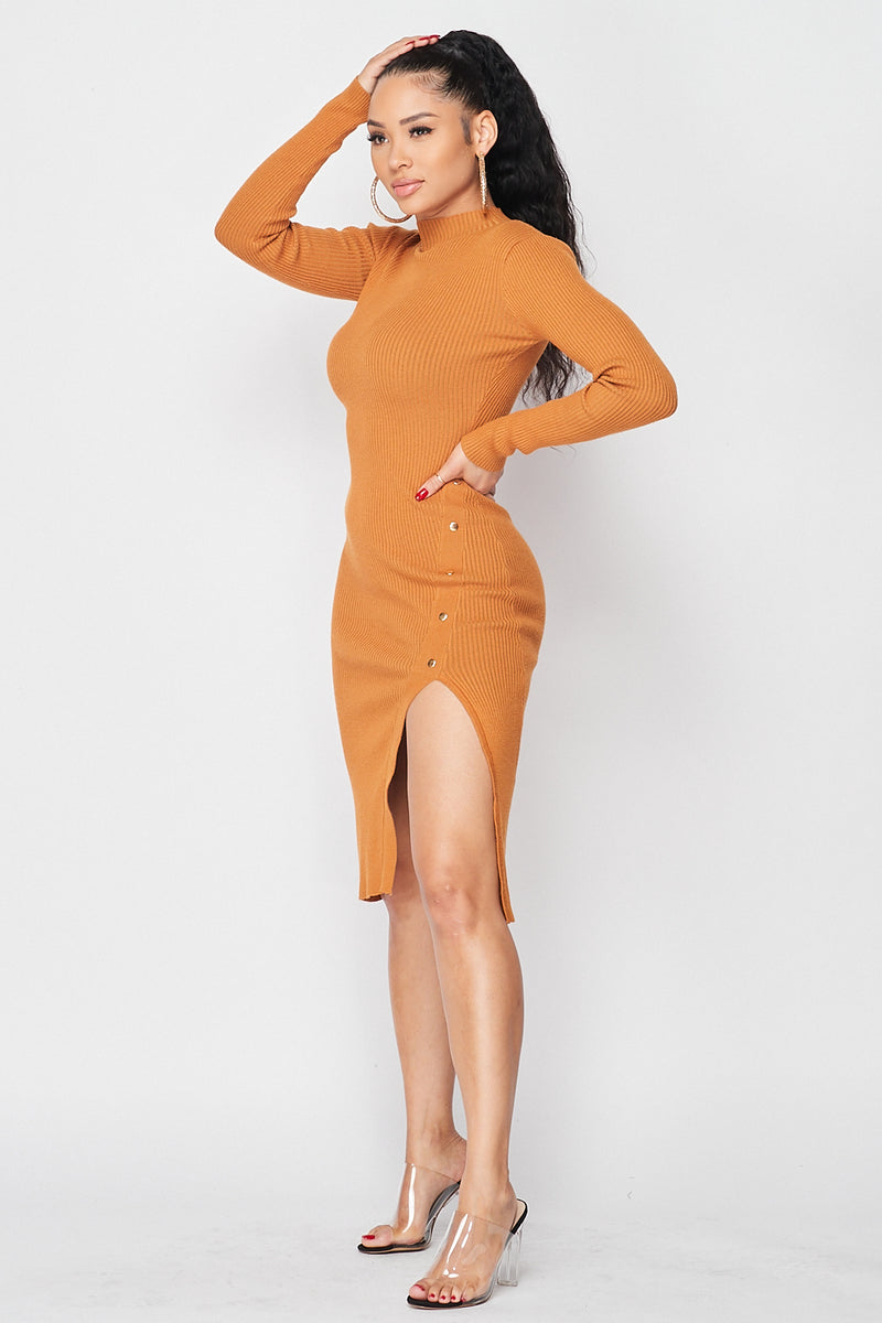 Ribbed Knit Mock Neck Side Split Dress in Rust - Fashion House USA
