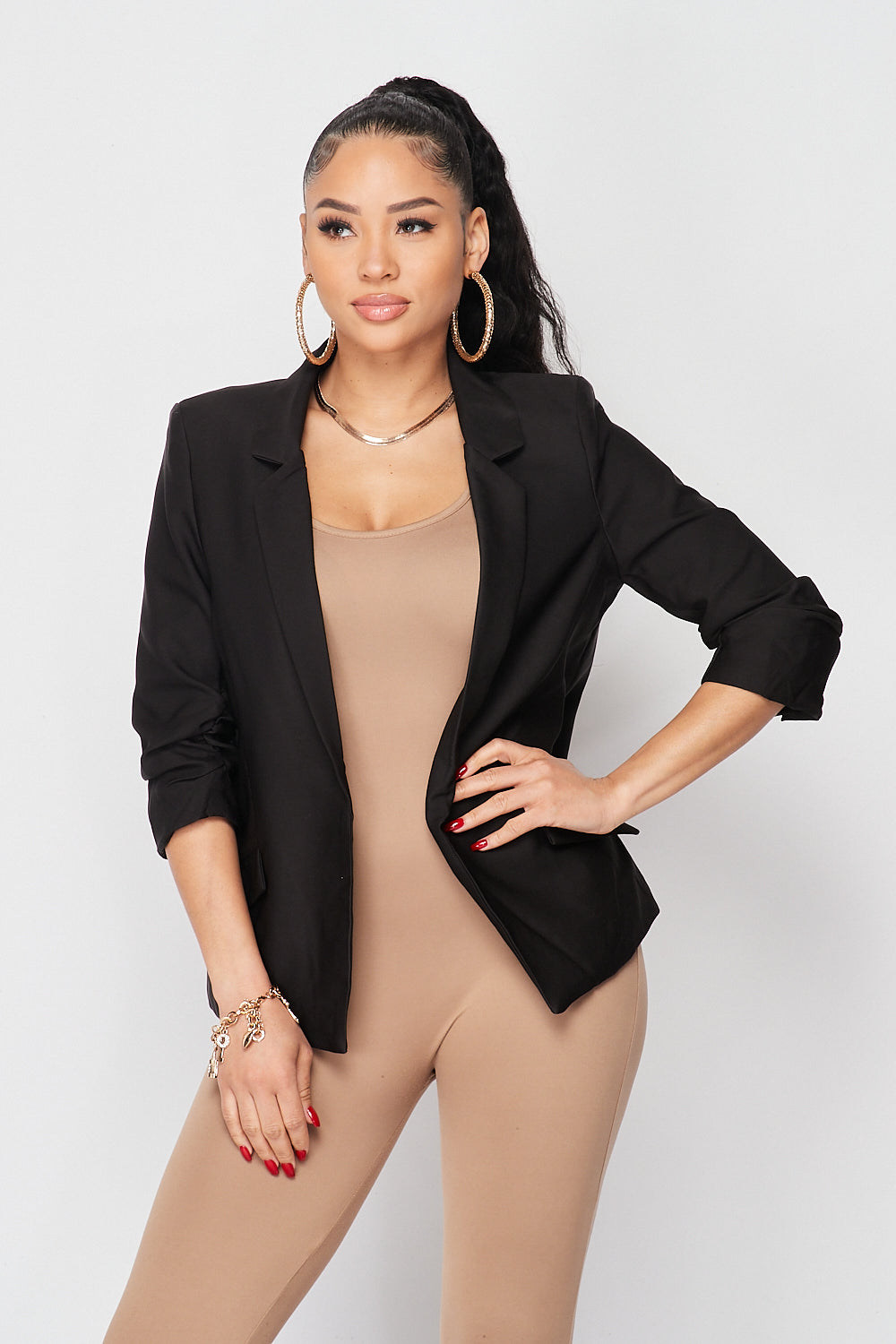 Classy Boss Quarter Sleeve Blazer Jacket in Black - Fashion House USA