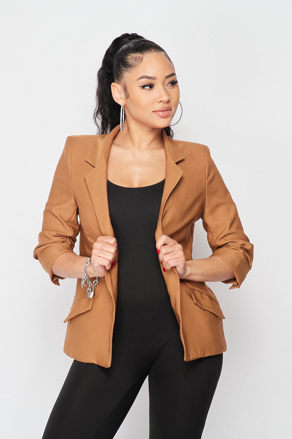 Classy Boss Quarter Sleeve Blazer Jacket in Caramel - Fashion House USA