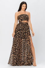 Sexy Leopard Print Crop top and Skirt Set - Fashion House USA