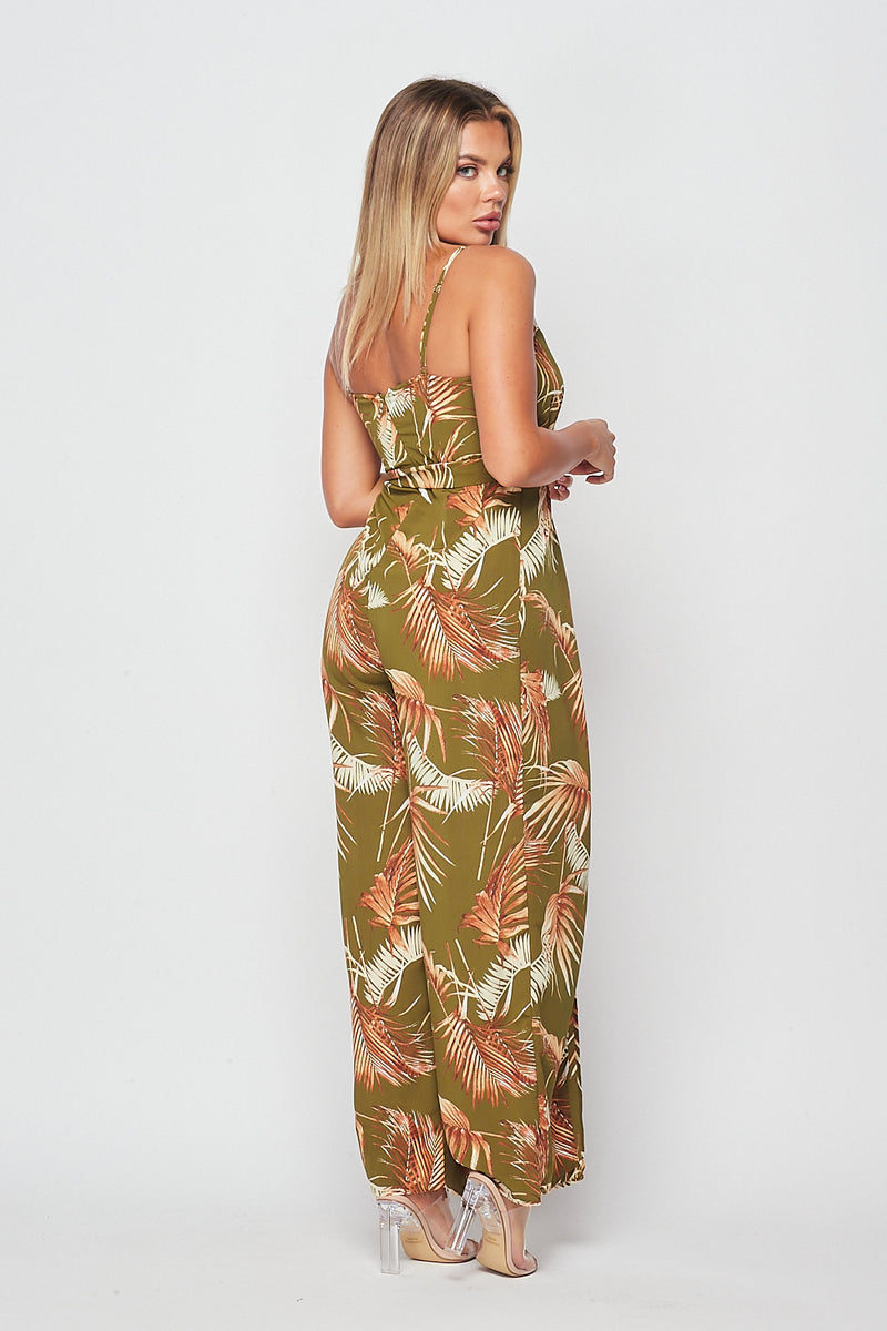 Super Hot Tropical Print Sleeveless Jumpsuit - Fashion House USA
