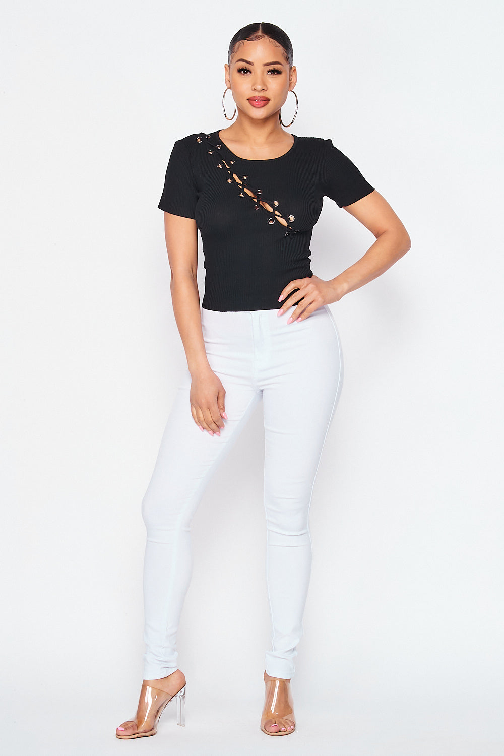 Ribbed Short Sleeve Lace Up Front Knit Top In Black