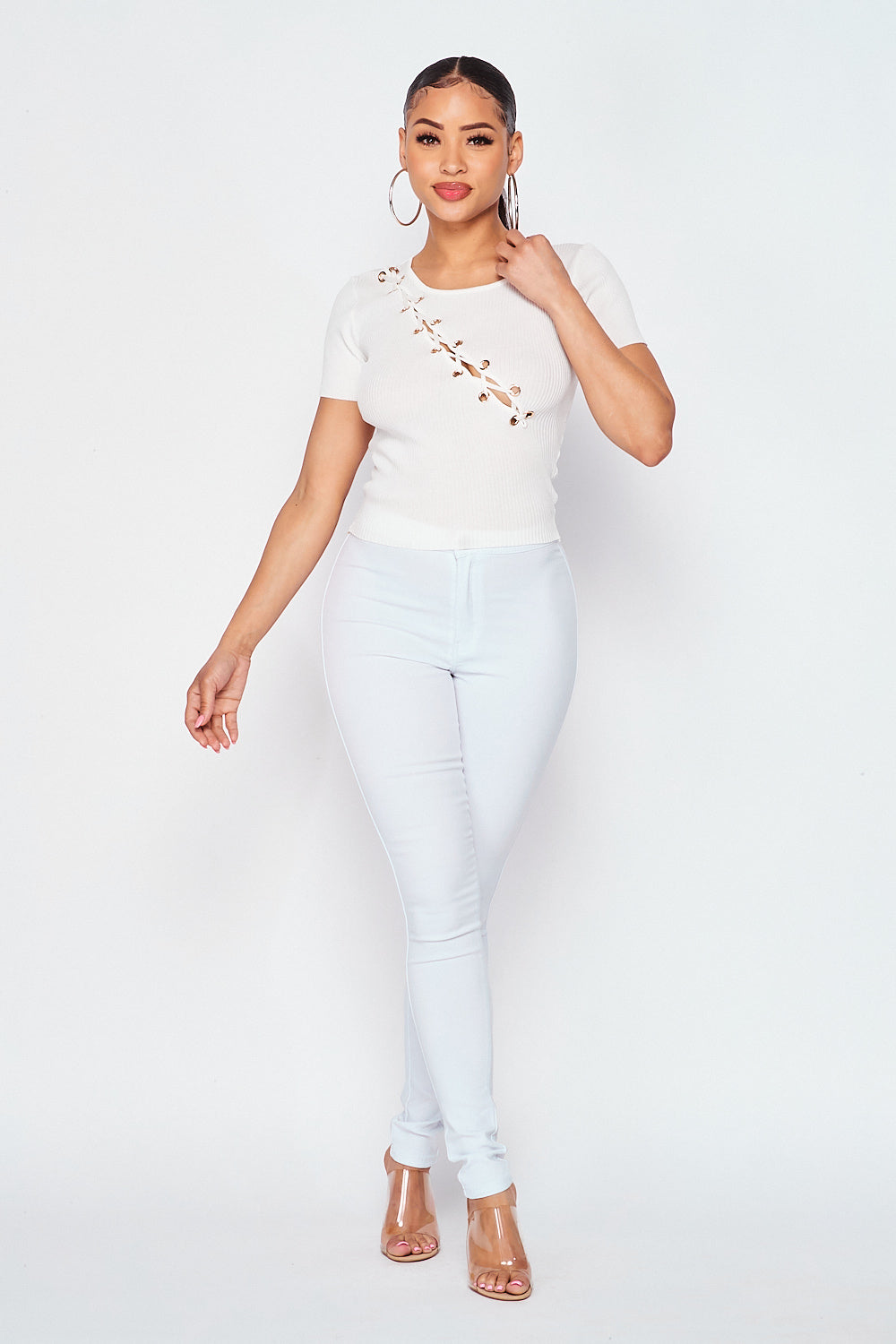 Ribbed Short Sleeve Lace Up Front Knit Top In White