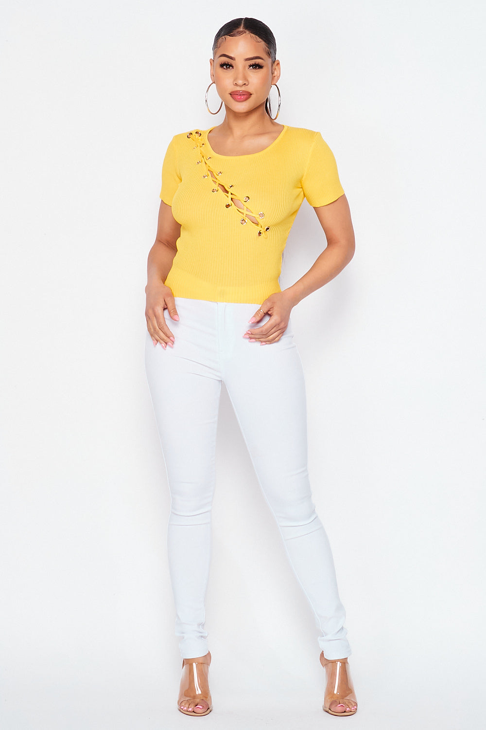 Ribbed Short Sleeve Lace Up Front Knit Top In Yellow