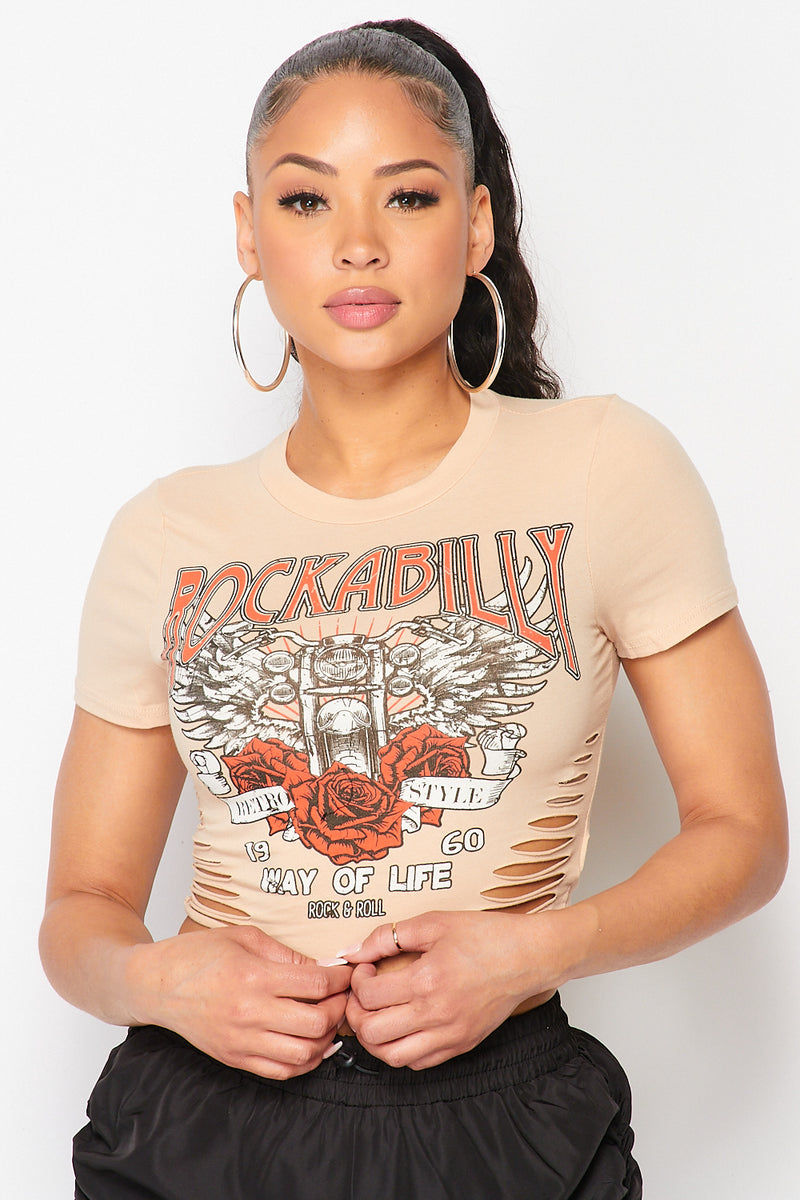 Front Ripped Rockabilly Rose Print Vintage T-Shirt in Taupe - Fashion House USA