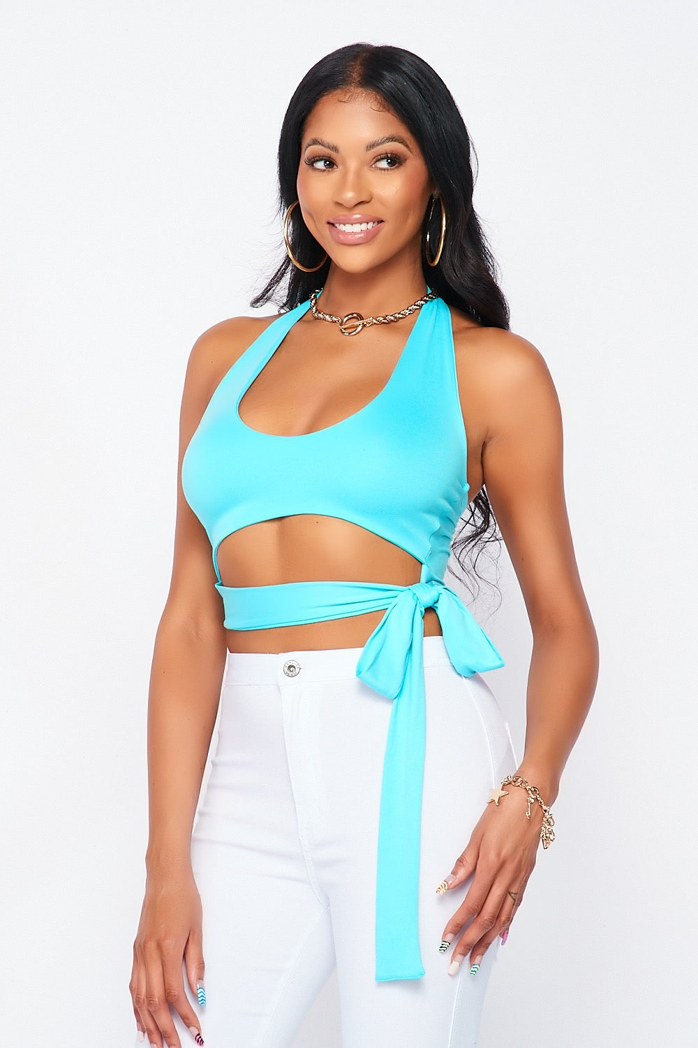 Super Stretch Cutout Halter Top in Mint