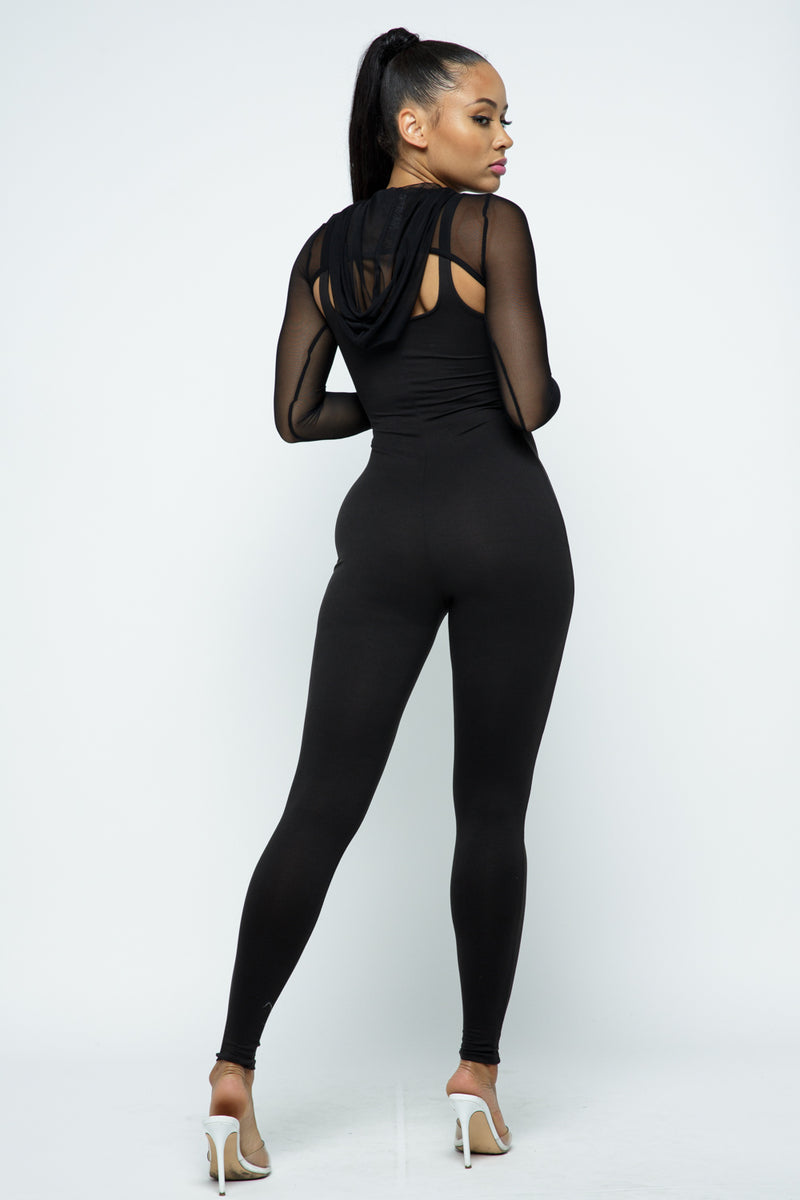 Sexy Chic 2pc Jumpsuit Set w/Mesh Crop Top - Fashion House USA
