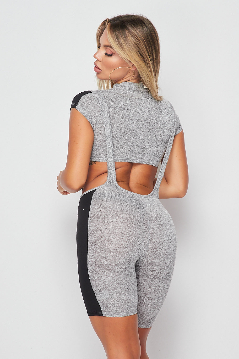 Sexy 2pc Romper set-GREY/BLACK - Fashion House USA