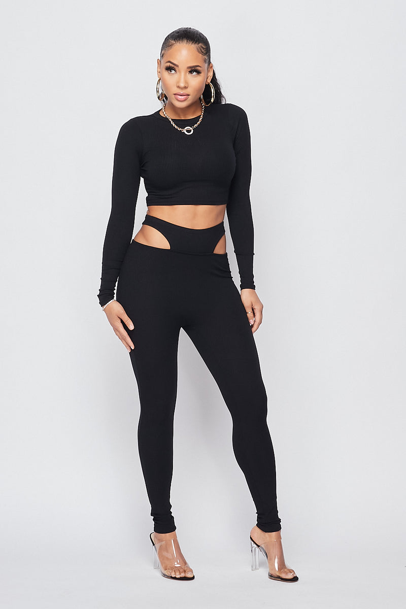 Sexy Crop top w/ Waist Cutout Pants-BLACK - Fashion House USA