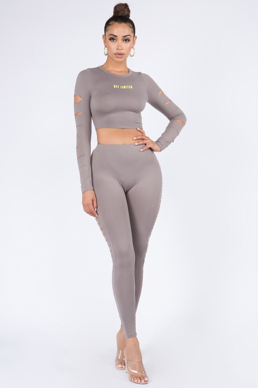 Sexy Off limited Long Sleeve Crop top and Pants Sets - Fashion House USA