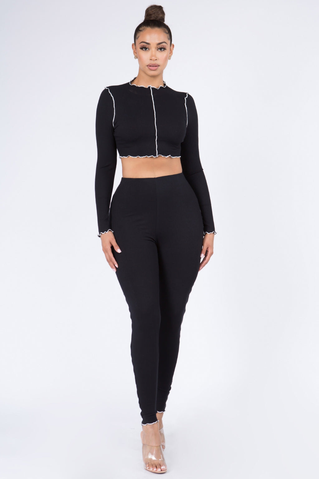 Sexy Long Sleeve Knit Crop Top w/ Pants Set-BLACK - Fashion House USA