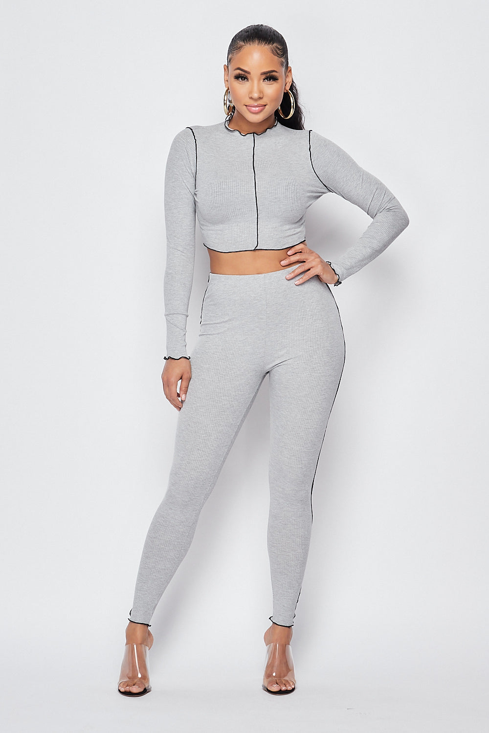 Sexy Long Sleeve Knit Crop Top w/ Pants Set-H.GREY - Fashion House USA