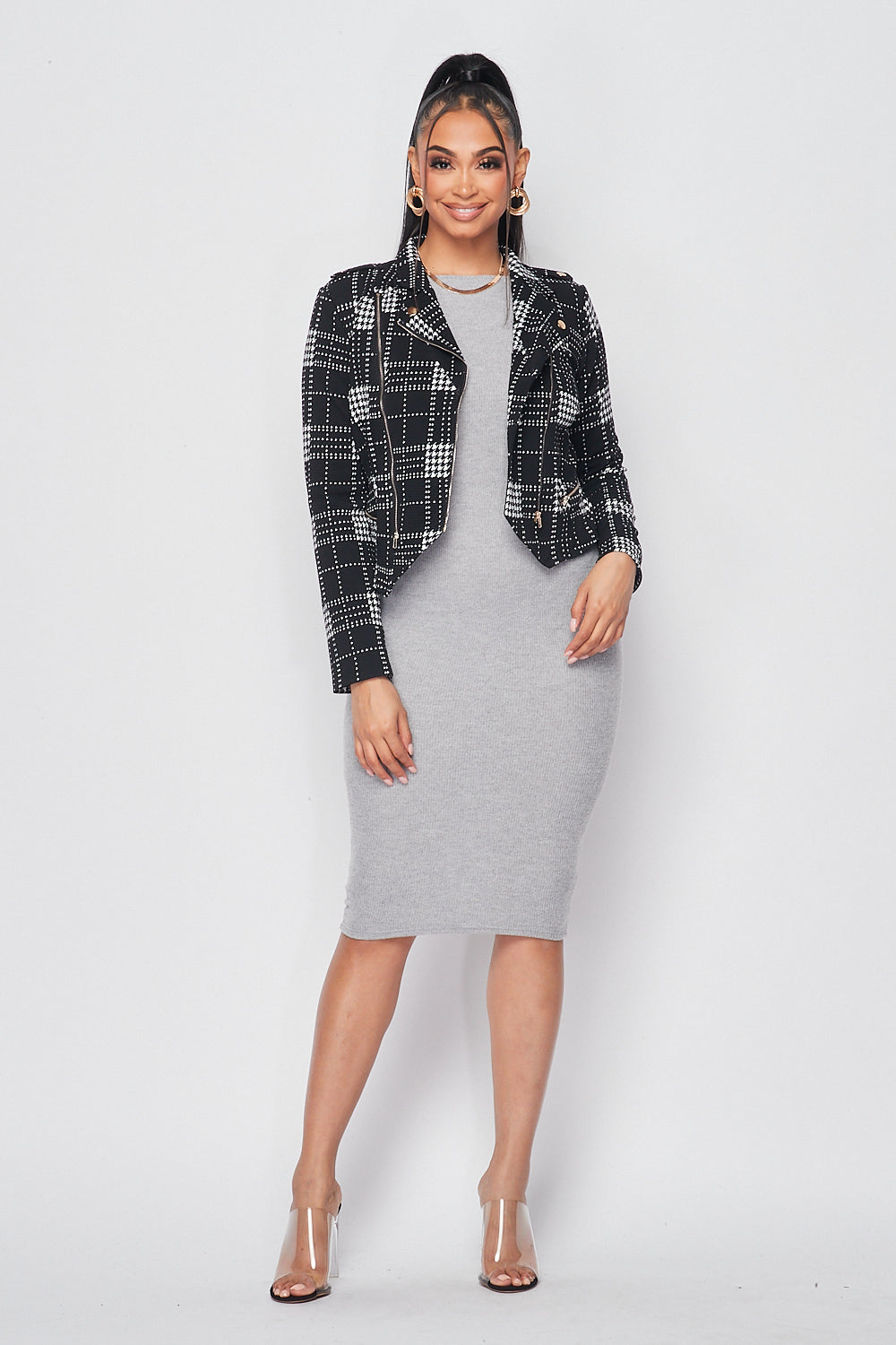 Houndstooth Asymmetric Zip Up Biker Jacket - Fashion House USA