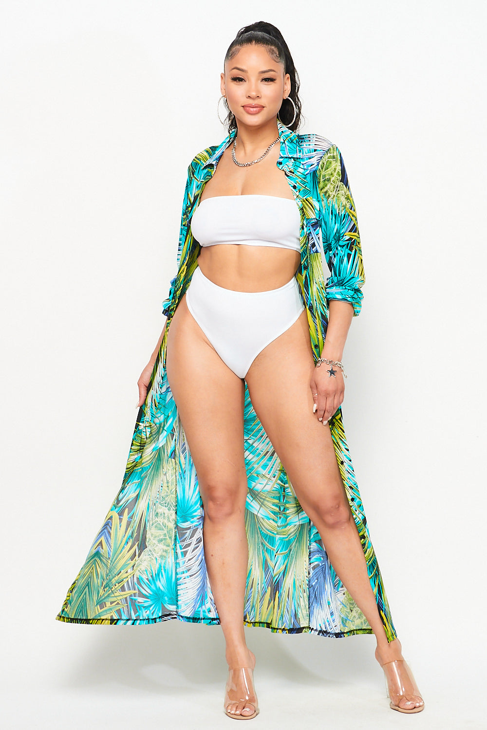 Tropical Collared Swimsuit Cover Up