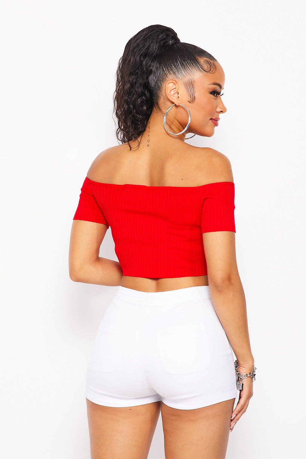 Solid Knit Ribbed Off Shoulder Crop Top in Red