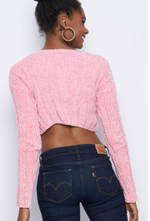 Sexy Cropped Long Sleeves sweater-PINK