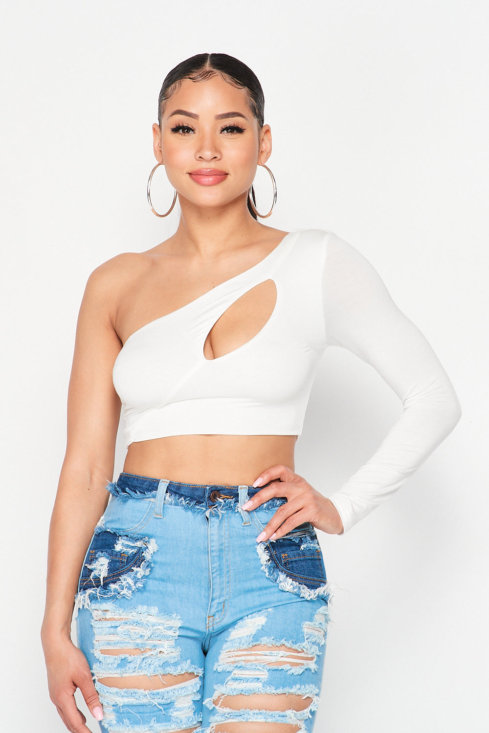 One Shoulder Chest Hole Crop Top - Fashion House USA