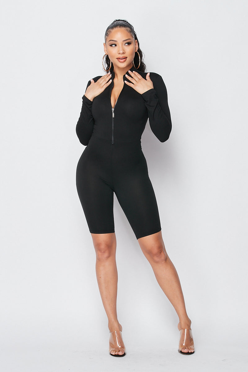 About That Action Long Sleeve Front Zip Up Romper in Black - Fashion House USA