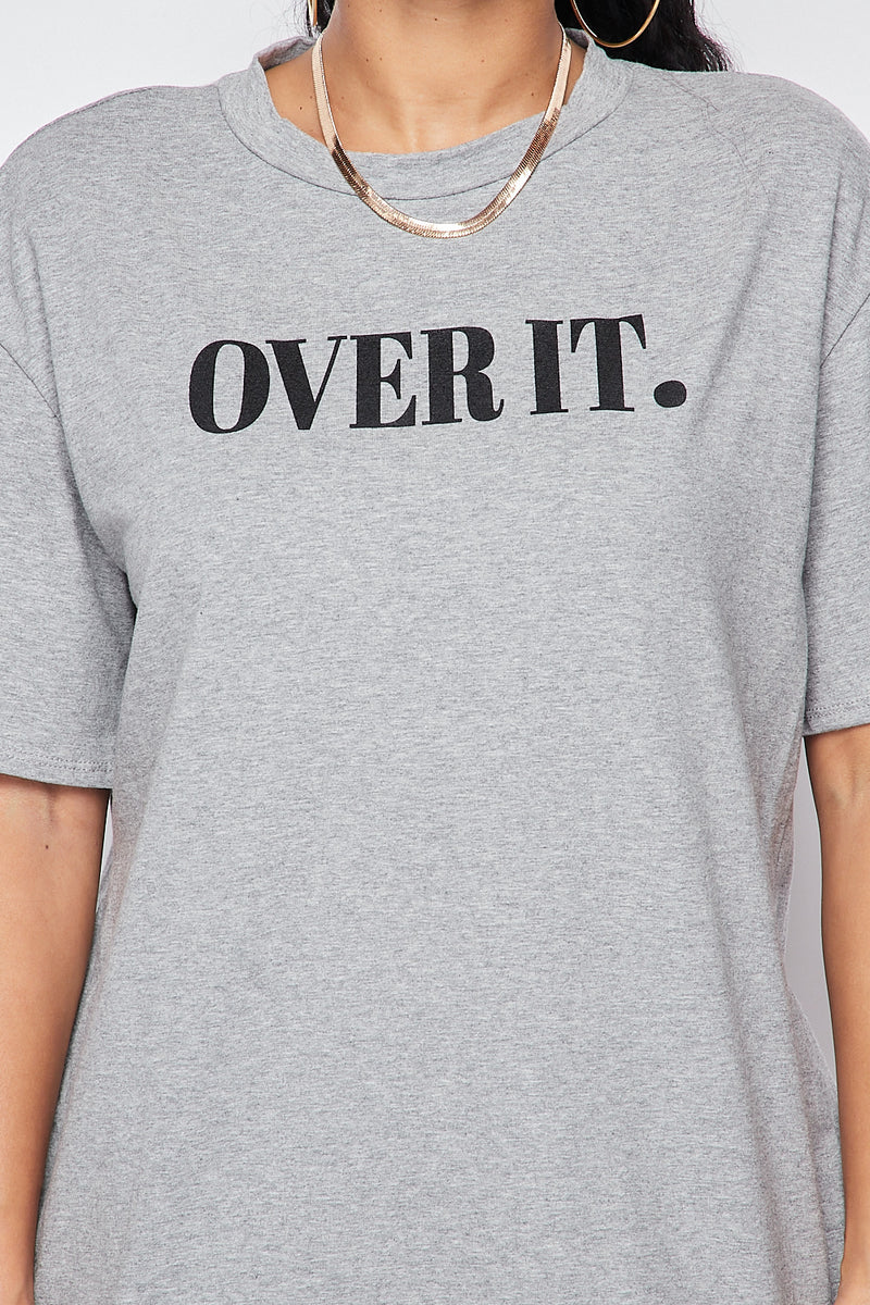 Over It Oversized Biker Set-H.GREY - Fashion House USA