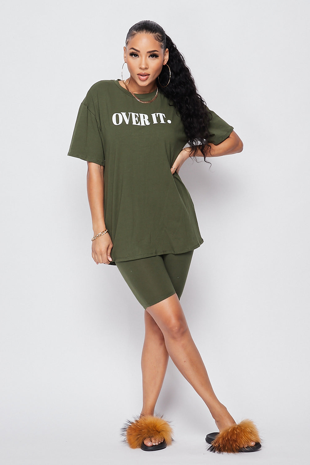 Over It Oversized Biker Set-OLIVE - Fashion House USA