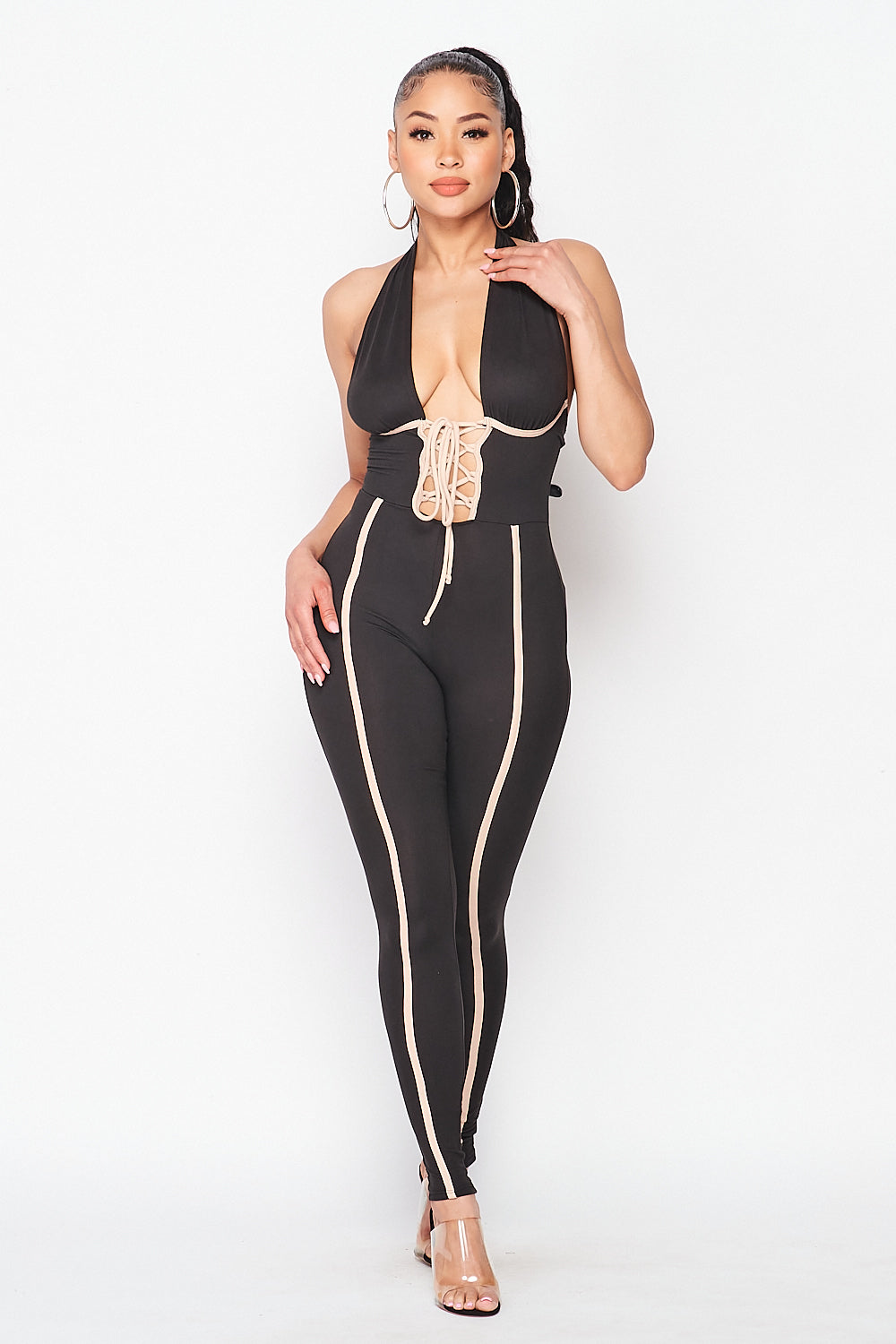 Halter Neck Lace Up Open Front Jumpsuit - Fashion House USA