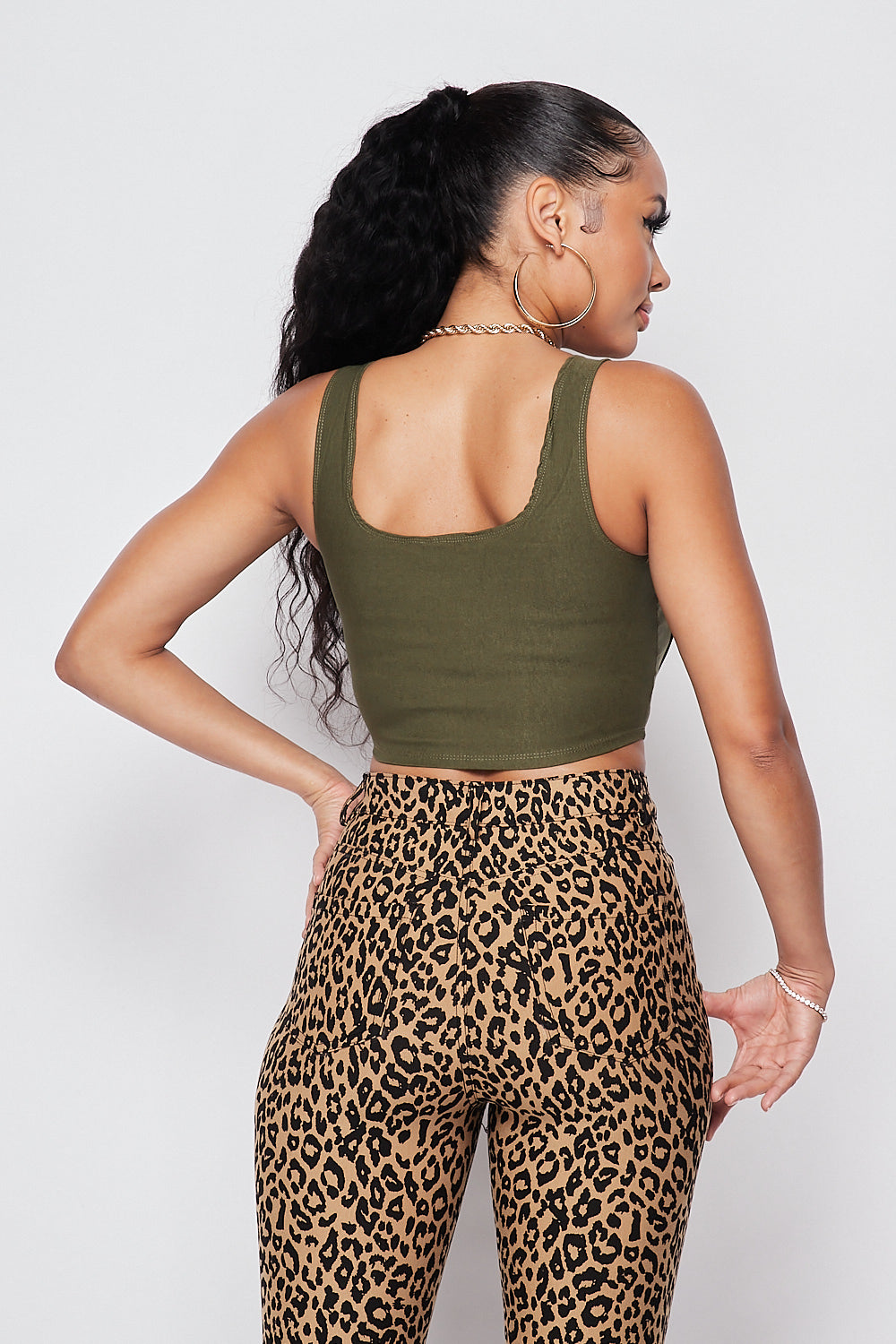Chic Sleeveless Corset Crop Top-OLIVE - Fashion House USA