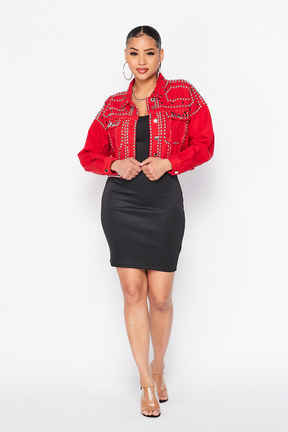 Keep You Stud Jacket-RED - Fashion House USA