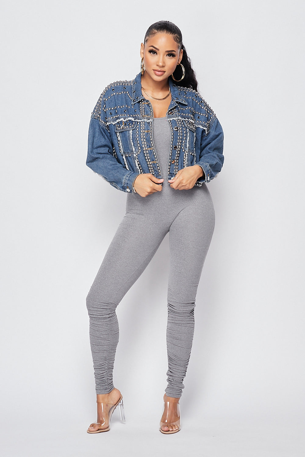 Keep You Stud Jacket-M.BLUE - Fashion House USA