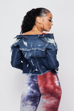 Sexy Gotta Have Fray Hem Denim Jacket-DARK DENIM - Fashion House USA