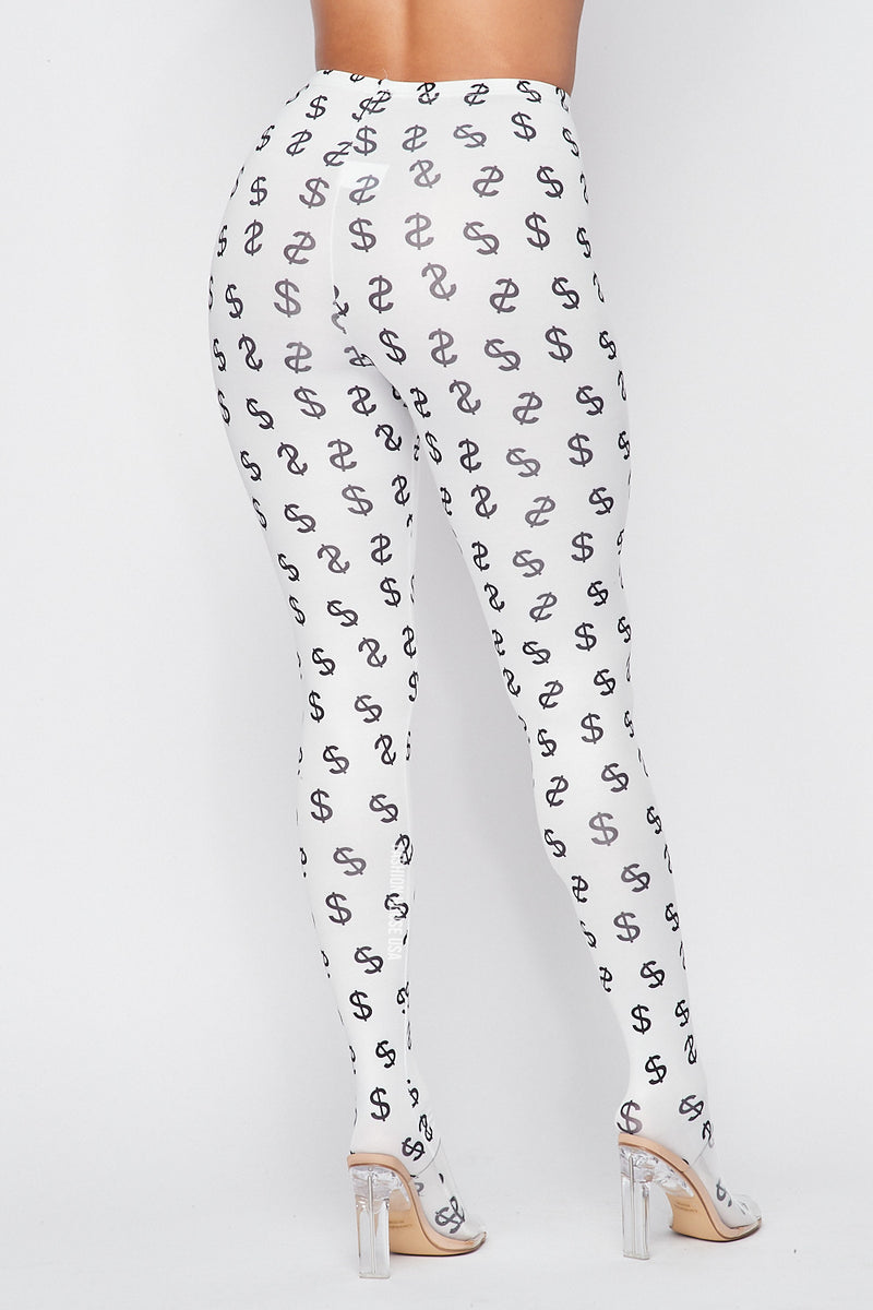 Dollar Sign Leggings in White/Black - Fashion House USA