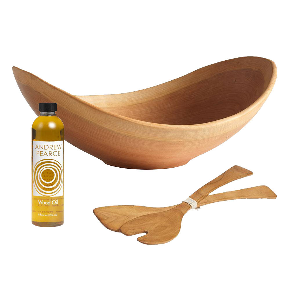 Live Edge Cherry Salad Bowl Gift Set