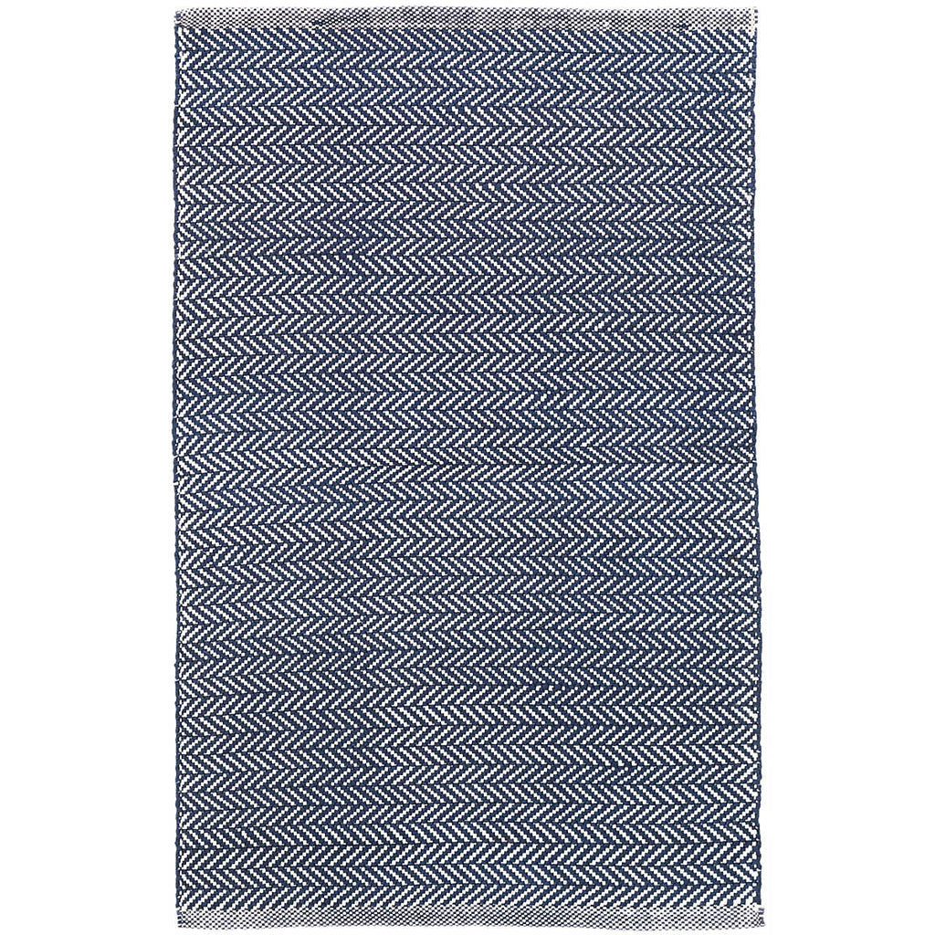 Herringbone Indoor/Outdoor Rug, Indigo/White