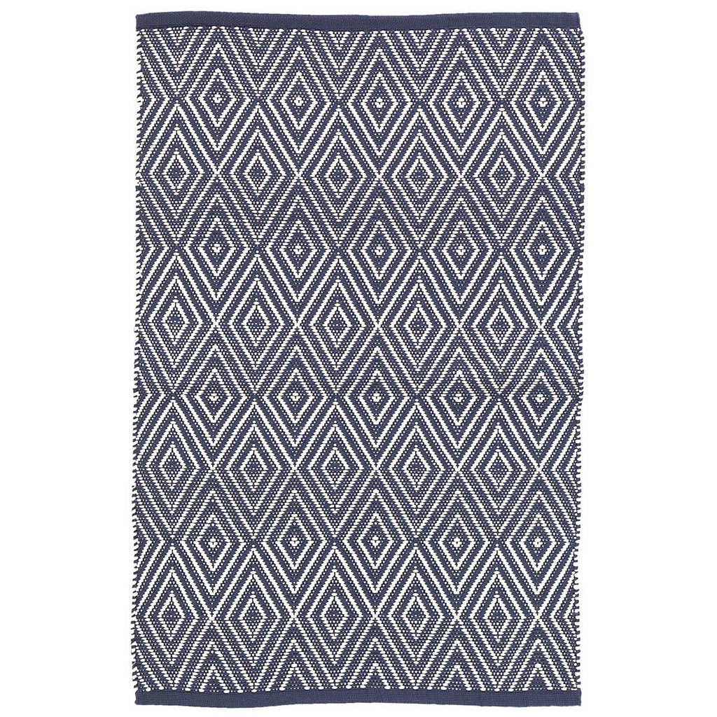 Diamond Indoor/Outdoor Rug, Navy/White