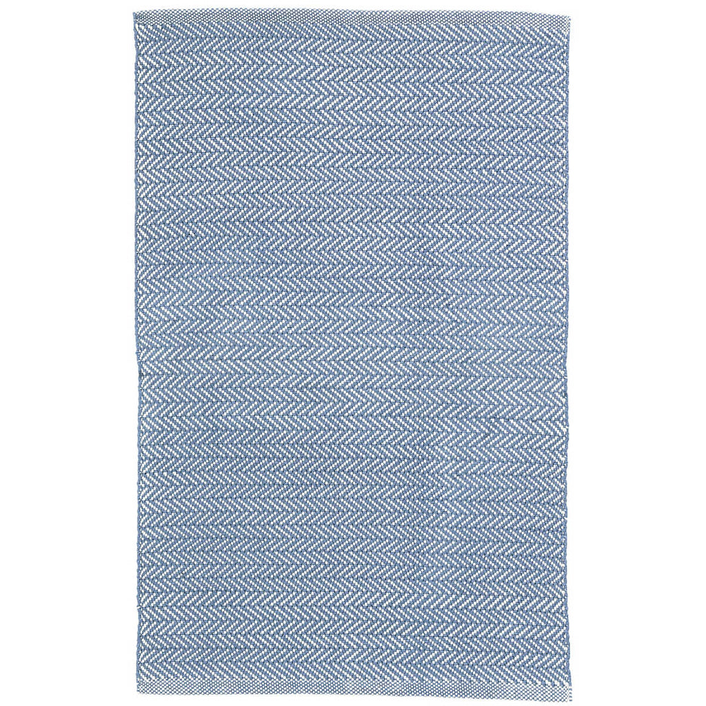 Herringbone Indoor/Outdoor Rug, Denim/Ivory