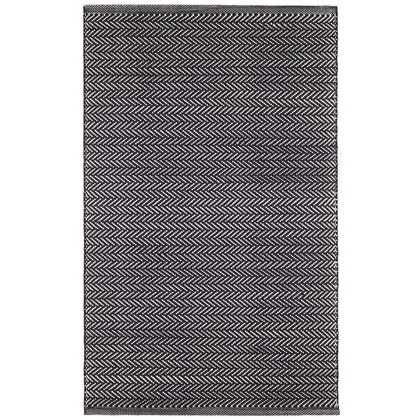 Herringbone Indoor/Outdoor Rug, Black/Ivory