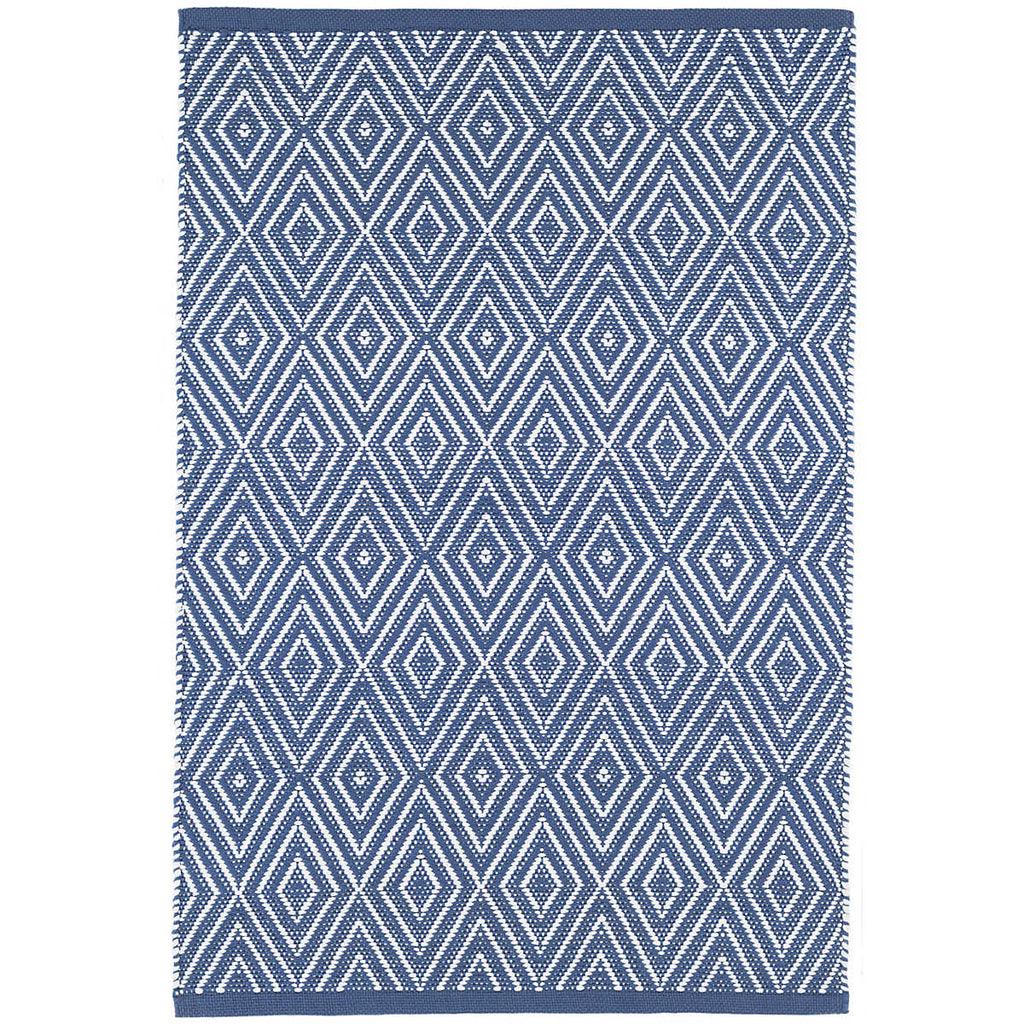 Diamond Indoor/Outdoor Rug, Denim/White