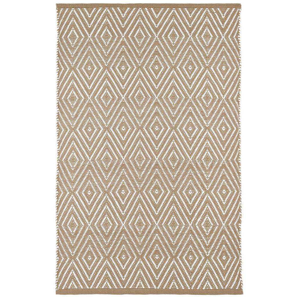 Diamond Indoor/Outdoor Rug, Khaki/White