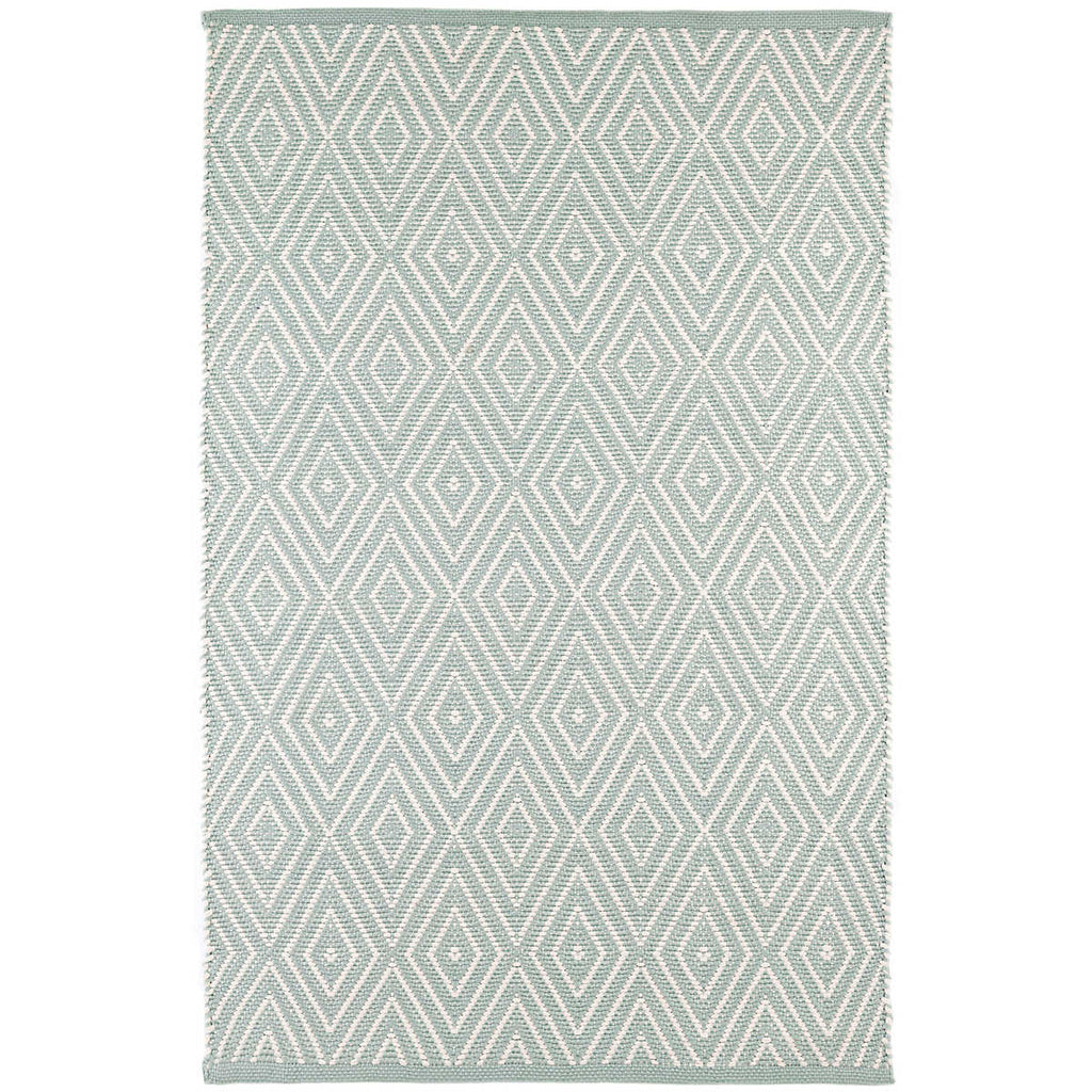 Diamond Indoor/Outdoor Rug, Light Blue/Ivory