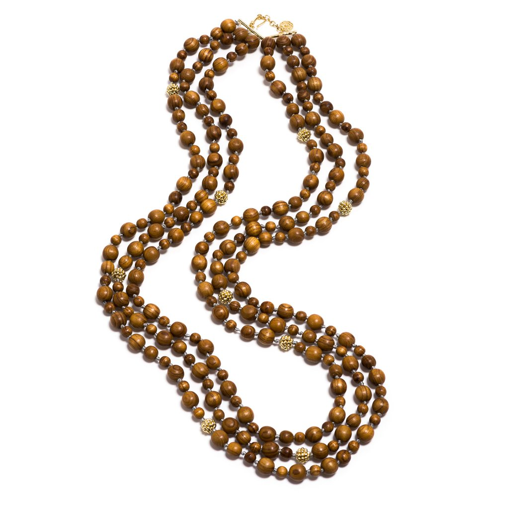 Teak Earth Goddess Beads Necklace