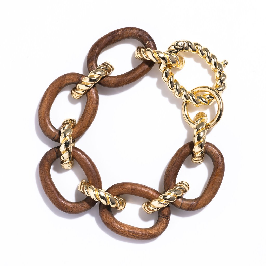 Teak Earth Goddess Link Bracelet