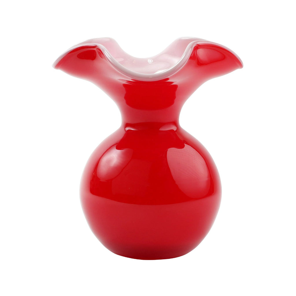 Red Hibiscus Glass Fluted Vase