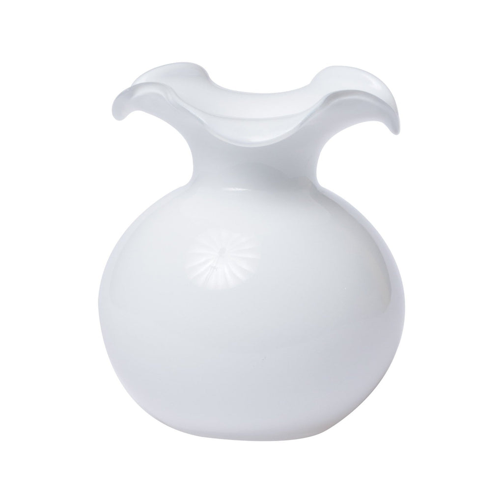 White Hibiscus Glass Small Fluted Vase