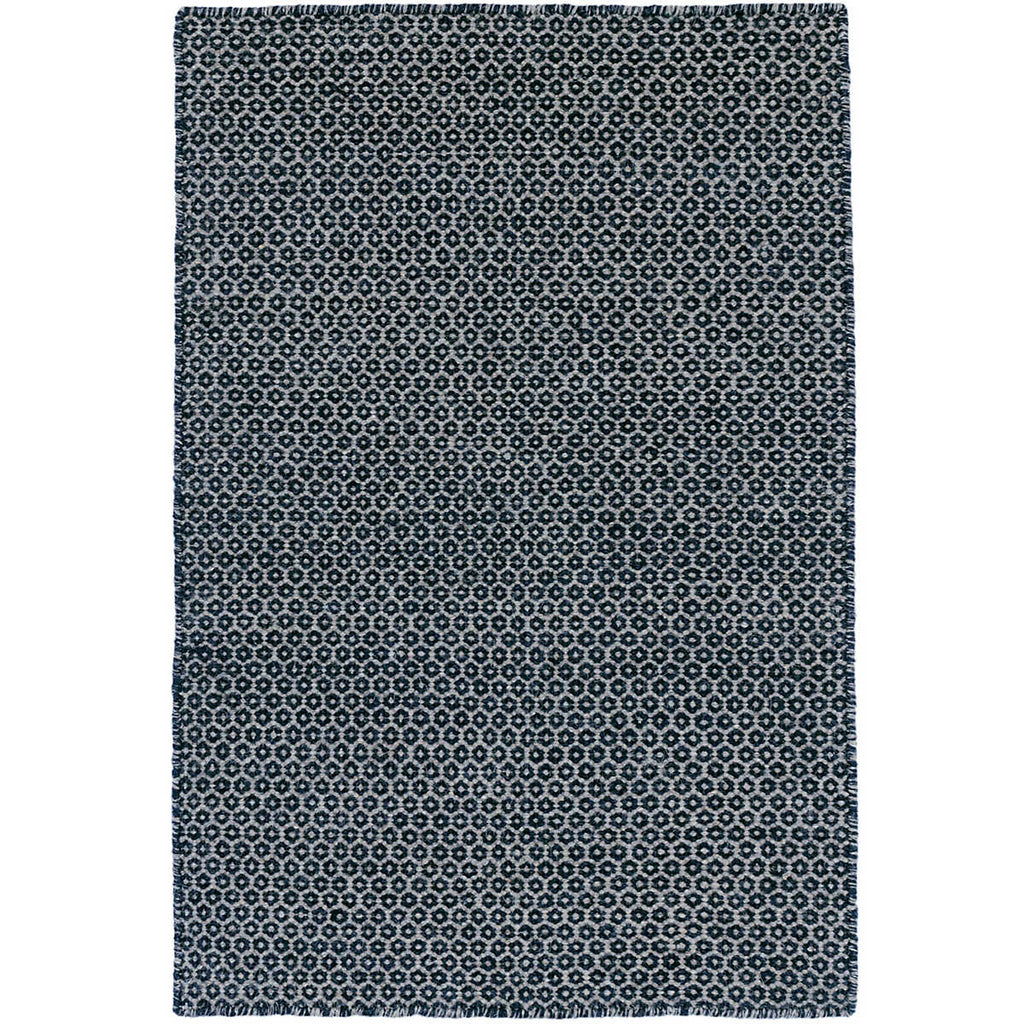 Honeycomb Woven Wool Rug, Indigo/Grey